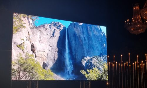 Real life waterfall footage on LED wall
